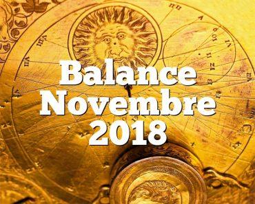 Balance Novembre 2018